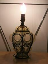 STUNNING VINTAGE RETRO METAL & AMBER BUBBLE GLASS LAMP BASE LIGHT
