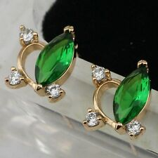 Elegance Emerald Green Marquise Jewelry Yellow Gold Filled Stud Earrings H1933