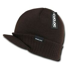 Brown Visor Brim Jeep Knit Army Warm Winter Ski Skull Beanie Beanies Hat Hats