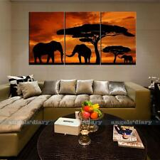 Elephants Sunset Unframed Prints HD Canvas Art Wall Art Picture Poster 127x60cm