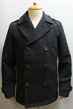 SPIEWAK DUGAN PEACOAT HOUNDSTOOTH HEATHER GRAY BLUE BLACK JACKET M NEW NWT MENS