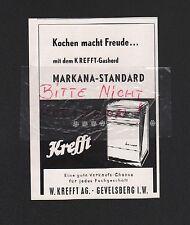 GEVELSBERG, Werbung 1960, W. Krefft AG Gasherd Markana-Standard