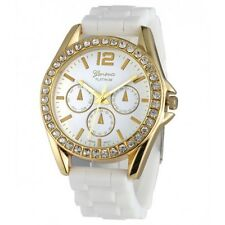 Geneva Gold Rhinestone Bezel Silicon Strap Watch 9707 - White