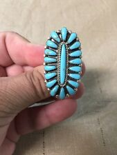 Native American Womens Turquoise Large Oval Cluster Ring Size 10 Navajo Stunning