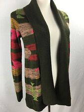 O Neill Open Front Cardigan Sweater Olive Green Neon Aztec style Sz XS