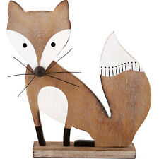 large 22cm tall wooden fox made from MDF with wire whiskers ornamental FO_37315