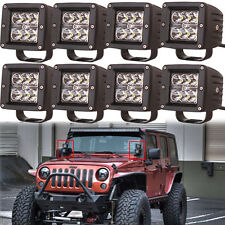 8X 3X3 Cree Spot Pods 18W Led Work Light Cube Boat Marine Ranger Polaris Jeep