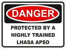 Dog LHASA APSO Breed Danger Sticker Pet for Bumper Locker Car Door