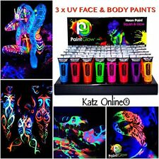 UV GLOW NEON viso & corpo pittura 3 x 10ml SET casuale 3 FLUORESCENTI HALLOWEEN FESTA