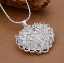Hot  A+ 925 Silver Plated  Charm Hollow Flower Heart Pendant Necklace Chain