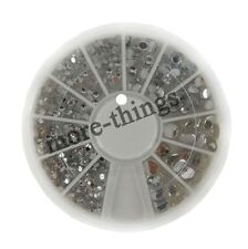 Nail art Mix SizesClear  ROUND Rhinestones with Wheel High Quality