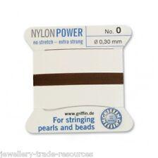 Marrón Nylon Potencia sedoso Cadena Hilo 0,3 mm de Encordar Perlas Y Cuentas Griffin 0