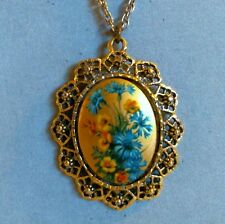 Vintage Lucite Pendant Mirror Necklace Floral Medallion Openwork Frame Chain