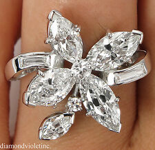 GIA 2.69CT ESTATE VINTAGE DIAMOND CLUSTER RIGHT HAND ENGAGEMENT RING PLATINUM