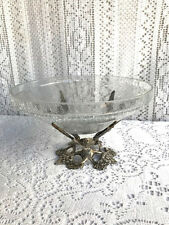 "8"" CRACKLE GLASS BOWL WITH SOLID BRASS ANGELS PEDESTAL STAND"