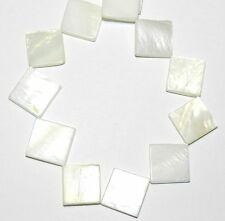 MP1833f White Mother of Pearl 15mm Flat Square Diamond Gemstone Shell Beads 15""