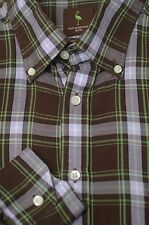 Tailorbyrd Men's Brown Lavender & Green Tartan Cotton Casual Shirt XL XLarge
