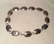 Navajo Signed TKE Native American Sterling Silver Turquoise Concho Belt