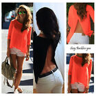 Sexy Fashion Women Summer Tops Tee Long Sleeve Shirt Casual Blouse Loose T-shirt