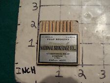 vintage Matches 1930's or 40's: pull quick NATIONAL BROKERAGE CO. minus 1