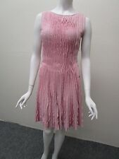 CHANEL Made in Italy Pink Cashmere Blend Ruffle Pleated Sweater Dress Size 38