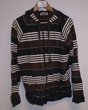 Used Men's Topman Brown Black And White Stripped Zip Up Jumper Size Large (J.G)