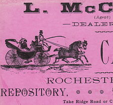 1800's L McCord Carriages 576 Lake Ave Rochester NY horse Advertising Trade Card