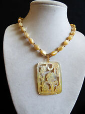 """Genuine hand carved Mother of Pearl pendant oval beads toggle necklace 16""""L"""