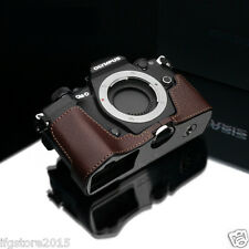 GARIZ Italian Leather Half Case Bag Cover Brown For Olympus OM-D E-M5 Mark II 2