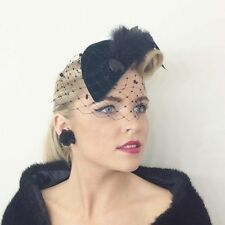DARK FOREST BOTTLE GREEN VELVET TEARDROP HAT FASCINATOR VINTAGE VEIL NET 1940s