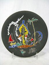 """Rare 50´s Keto Keramik Hans Welling """"Surreale"""" Design wall plate / Haus  21 cm"""
