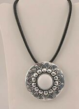 "VICTORIA LELAND DESIGNS Necklace Large Silver Tone Flower Pendant  21"" NWT"