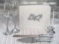 Silver Double Heart Guest Book Toasting Glasses Bridal Wedding Accessory Set