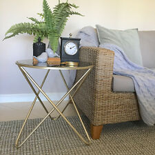 Round Gold Metal Side Table/Black Marble Top/Luxe Look/Hall Table/Bedside