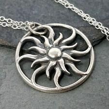Celestial Sun Necklace - 925 Sterling Silver - Sun Charm Pendant Jewelry NEW