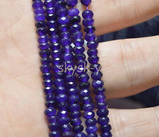 "Natural 2x4mm AAA Faceted Purple  Amethys Abacus Rondelle Loose Beads 15"" Strand"