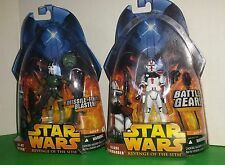 2 STAR WARS 4in ACTION FIGURES-AT-RT DRIVER & CLONE COMMANDER-2005-HASBRO