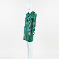 Diane von Furstenberg NWT $448 Green Multi Silk Knit Printed Denny LS Dress SZ 8