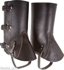 SWISS ARMY SURPLUS BLACK LEATHER GAITERS ,CAMPING,MOTORCYCLE,SPATS,LEGGINGS
