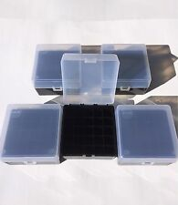5 pack of 25 shot-shell 12 gauge/16 gauge plastic ammo boxes Black/Clear