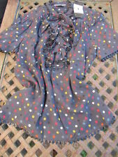 new JAEGER pussybow front frill 100% SILK BLOUSE top+multi spots UK14 US10 bnwt