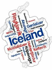 "Iceland Reykjavik Country Map Word Cloud Bumper Vinyl Sticker Decal 4""X5"""