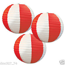 3 CARNIVAL Circus Big Top Party Decoration Red White Stripes HANGING LANTERNS