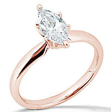 2.25 Ct Marquise Solitaire Engagement Wedding Ring Solid 14K Rose Pink Gold