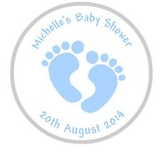 24 Personalised Baby Shower Footprints Stickers Blue