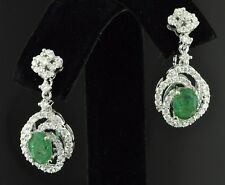 DANGLING 2.95 CT COLOMBIAN EMERALD &  DIAMOND EARRING WHITE GOLD  18k