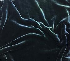 Hand Dyed Silk VELVET Fabric DEEP TEAL GREEN 1 yard