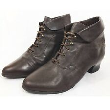 Brown Leather Victorian Steampunk Granny Cosplay Lace Up Ankle Boot Size 5 EU 38