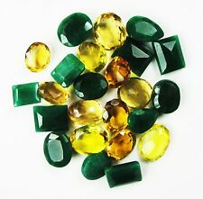 200 Ct/25 Pcs Precious Natural Mixed Shape Emerald & Citrine Gemstone Lot
