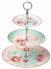 3-tier Serving Cake Stand Pink Roses Bone China In Gift Box fruit party wedding
